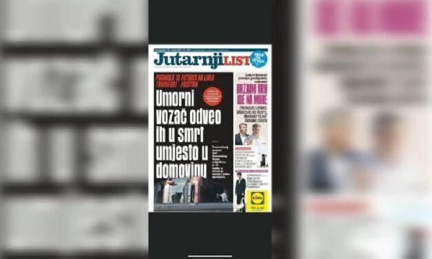 Gazeta më e madhe kroate hapet me titullin: Shoferi i lodhur i çoi drejt vdekjes në vend të atdheut